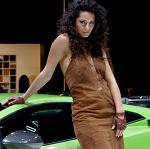 Showroom model wearing brown dress